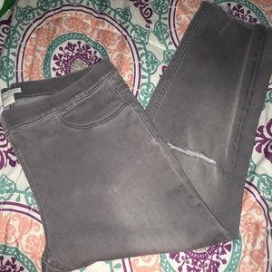 Grey H&M ripped ankle Pants.